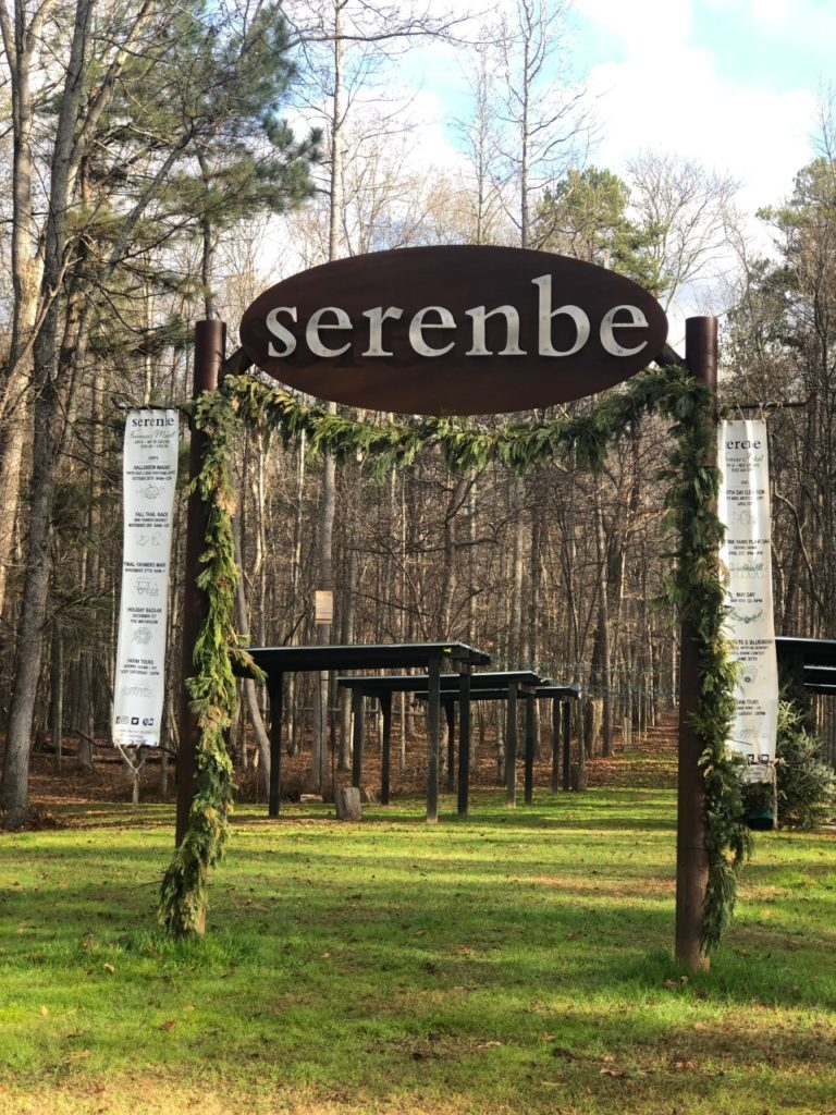 "Steel sign that reads ""Serenbe"" with rust finish"